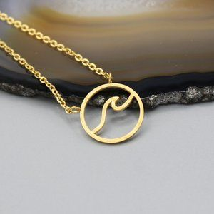 Jewelry - Wave water ocean nature yellow gold tone necklace